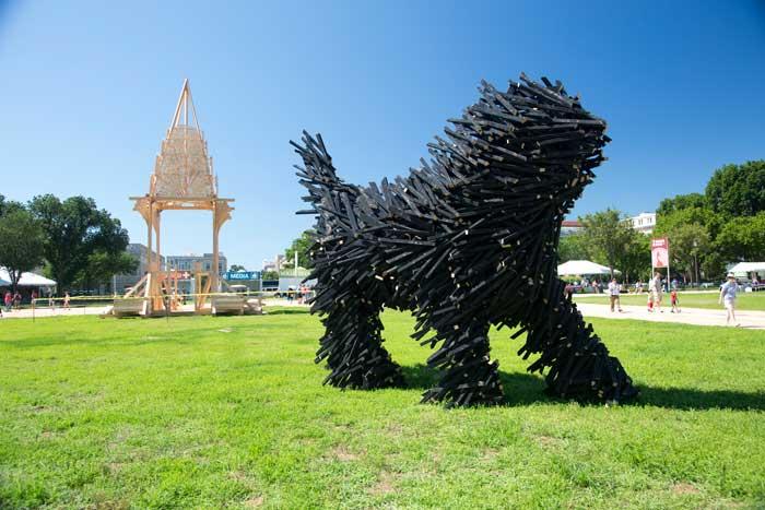 Puli dog sculpture by artist Gábor Miklós Szőke