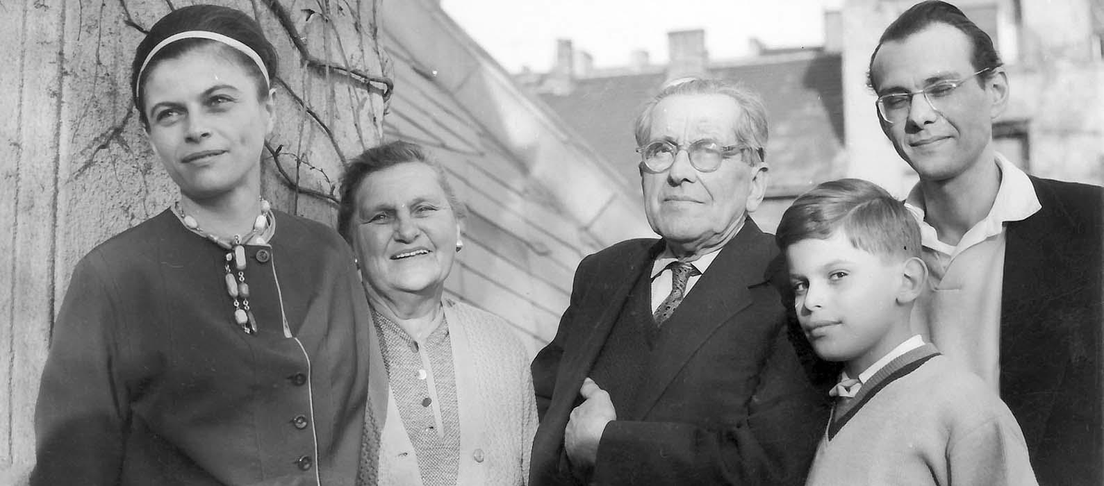 Jolán Borbély, Sr. Dr. György Martin and his wife, Péter Éri, György Martin. Budapest, 1964