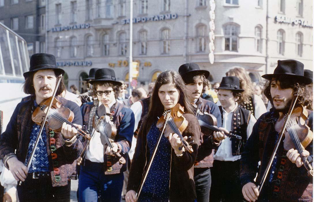 Béla Halmos, Ferenc Sebő, Márta Virágvölgyi, and Mihály Sipos accompany a processional dance; Finland, 1974