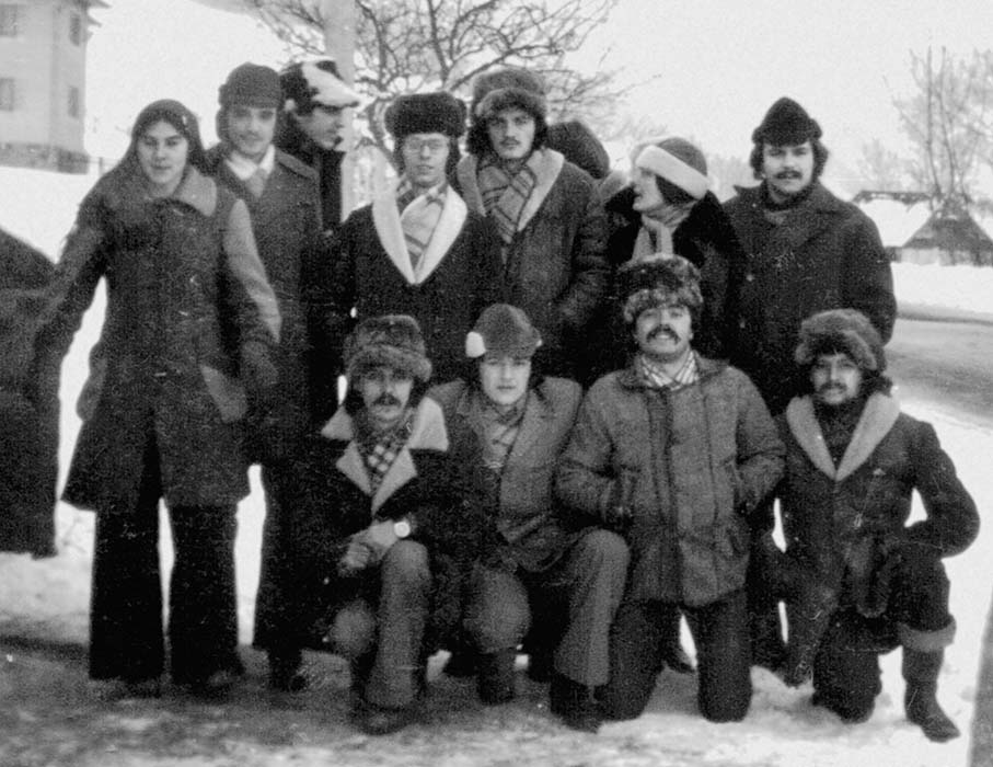 The Barozda, Bodzafa, Harmat, and Ördögszekér Ensembles on a joint research trip to Transylvania and Gyimes in January of 1978